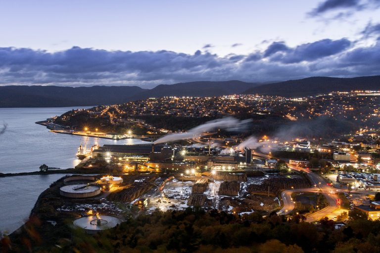 The View of Corner Brook, and Humber Mouth from Captian Cooks Lookout at sunset